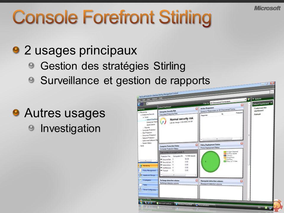 2 usages principaux Gestion des stratégies Stirling Surveillance et gestion de rapports Autres usages Investigation