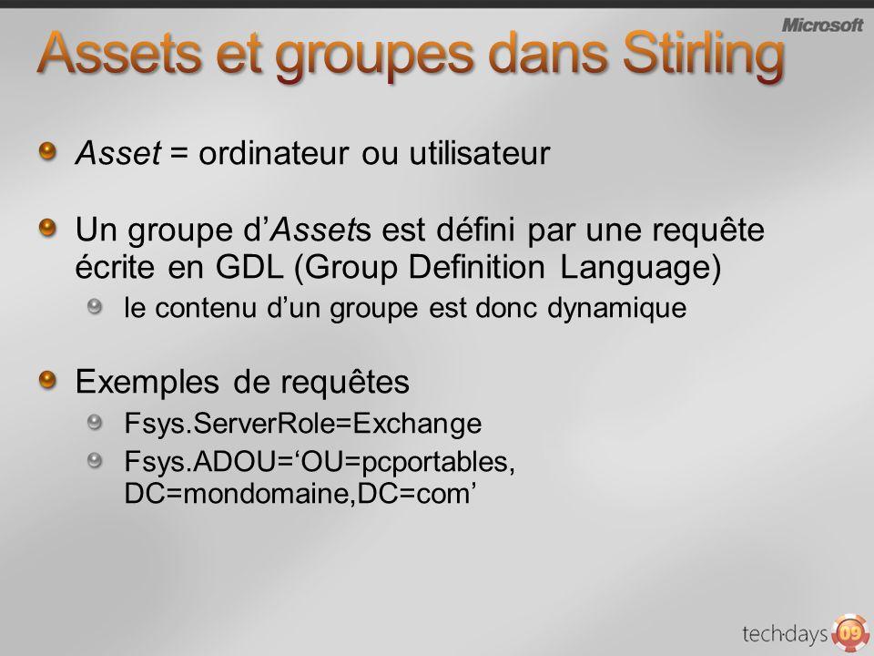 Asset = ordinateur ou utilisateur Un groupe dAssets est défini par une requête écrite en GDL (Group Definition Language) le contenu dun groupe est donc dynamique Exemples de requêtes Fsys.ServerRole=Exchange Fsys.ADOU=OU=pcportables, DC=mondomaine,DC=com