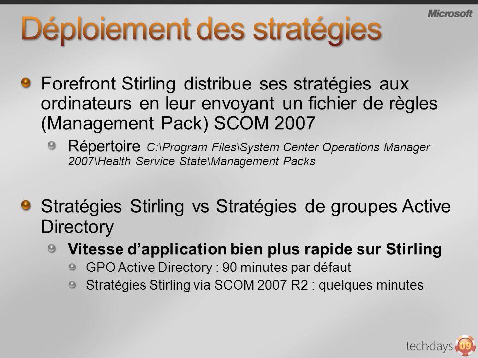 Forefront Stirling distribue ses stratégies aux ordinateurs en leur envoyant un fichier de règles (Management Pack) SCOM 2007 Répertoire C:\Program Fi
