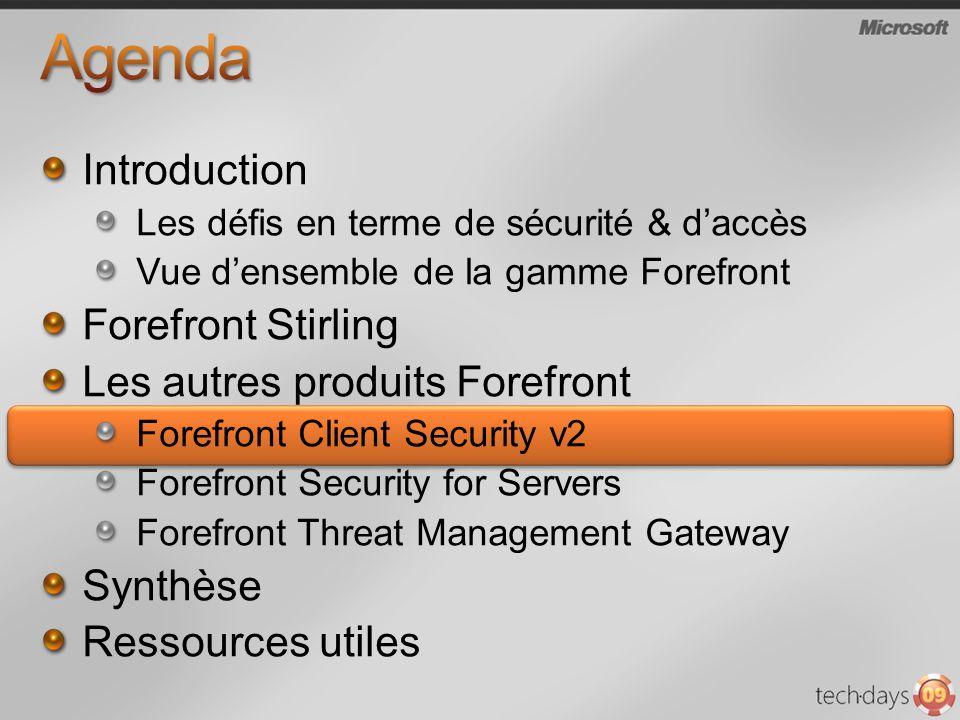 Introduction Les défis en terme de sécurité & daccès Vue densemble de la gamme Forefront Forefront Stirling Les autres produits Forefront Forefront Cl