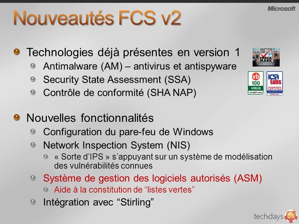 Technologies déjà présentes en version 1 Antimalware (AM) – antivirus et antispyware Security State Assessment (SSA) Contrôle de conformité (SHA NAP)