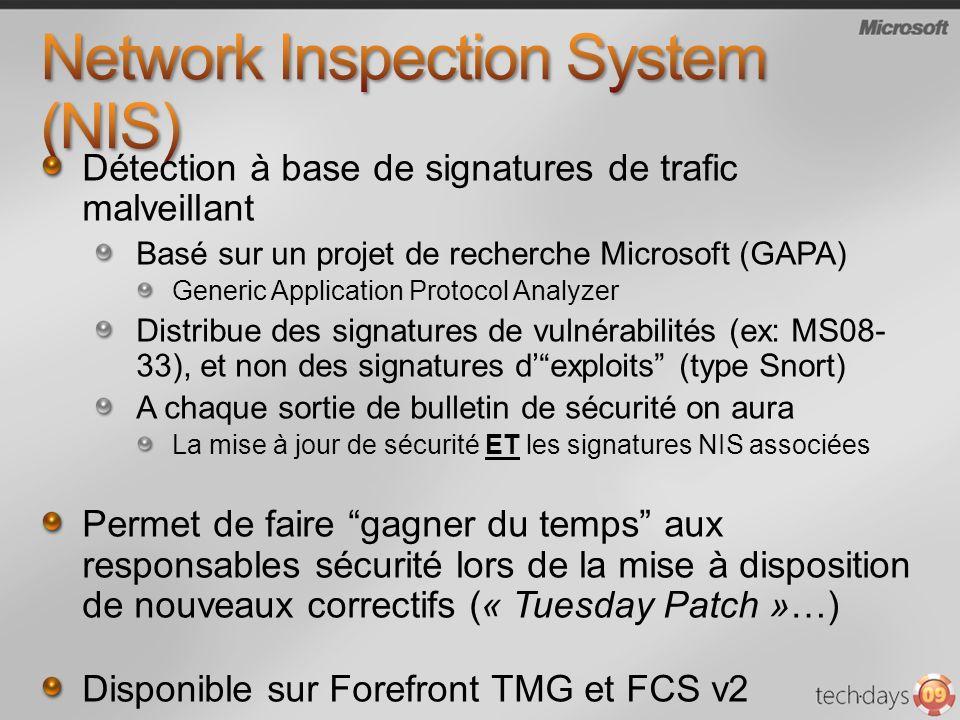 Détection à base de signatures de trafic malveillant Basé sur un projet de recherche Microsoft (GAPA) Generic Application Protocol Analyzer Distribue des signatures de vulnérabilités (ex: MS08- 33), et non des signatures dexploits (type Snort) A chaque sortie de bulletin de sécurité on aura La mise à jour de sécurité ET les signatures NIS associées Permet de faire gagner du temps aux responsables sécurité lors de la mise à disposition de nouveaux correctifs (« Tuesday Patch »…) Disponible sur Forefront TMG et FCS v2