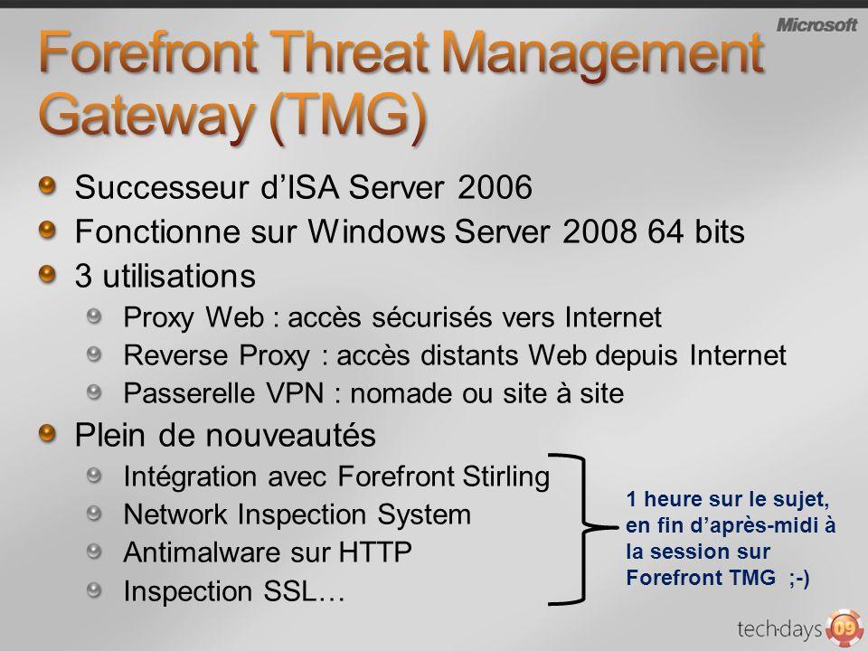 Successeur dISA Server 2006 Fonctionne sur Windows Server 2008 64 bits 3 utilisations Proxy Web : accès sécurisés vers Internet Reverse Proxy : accès