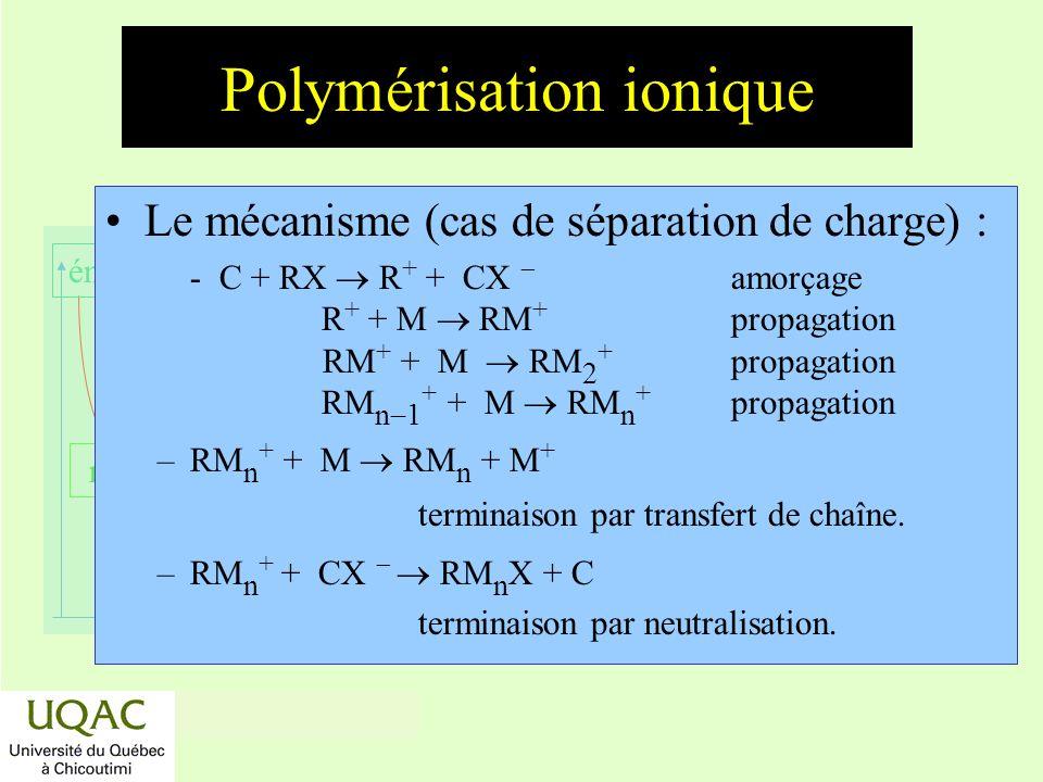 réactifs produits énergie temps Polymérisation ionique Le mécanisme (cas de séparation de charge) : - C + RX R + + CX amorçage R + + M RM + propagatio