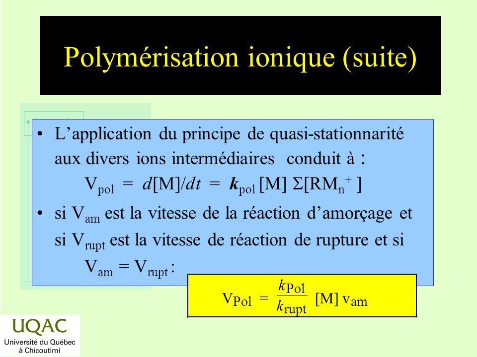 réactifs produits énergie temps Polymérisation ionique (suite) Lapplication du principe de quasi-stationnarité aux divers ions intermédiaires conduit
