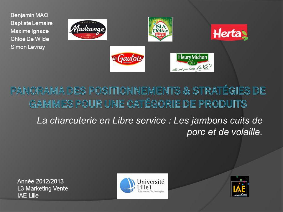 La charcuterie en Libre service : Les jambons cuits de porc et de volaille. Année 2012/2013 L3 Marketing Vente IAE Lille Benjamin MAO Baptiste Lemaire