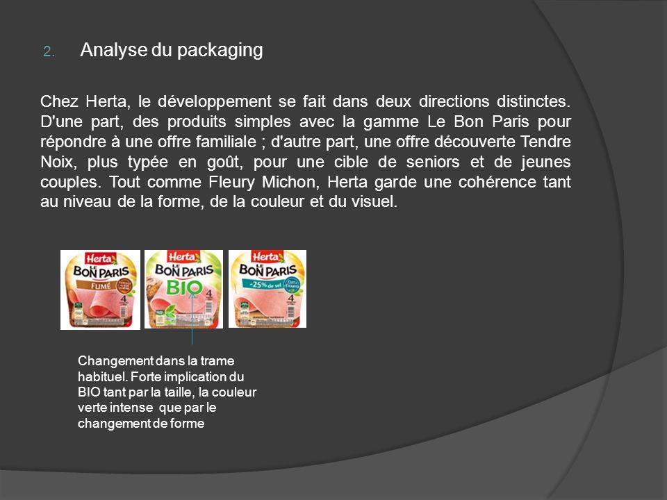 2. Analyse du packaging Chez Herta, le développement se fait dans deux directions distinctes. D'une part, des produits simples avec la gamme Le Bon Pa