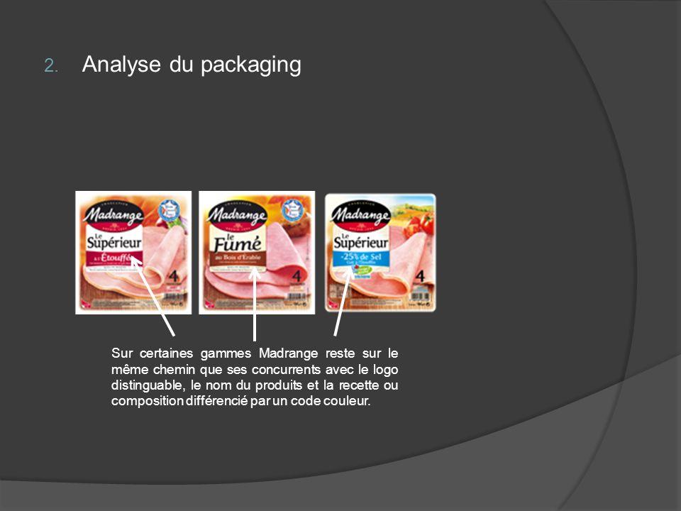 2. Analyse du packaging Sur certaines gammes Madrange reste sur le même chemin que ses concurrents avec le logo distinguable, le nom du produits et la