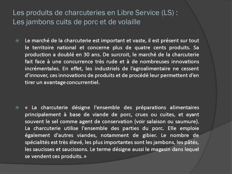 Les produits de charcuteries en Libre Service (LS) : Les jambons cuits de porc et de volaille Le marché de la charcuterie est important et vaste, il e