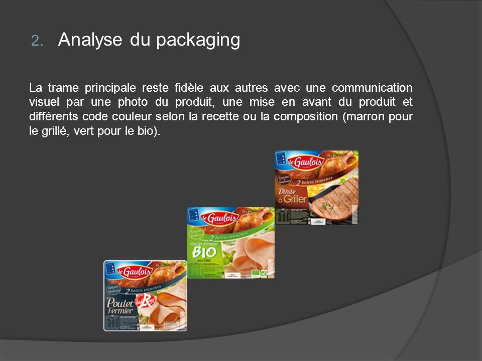 2. Analyse du packaging La trame principale reste fidèle aux autres avec une communication visuel par une photo du produit, une mise en avant du produ
