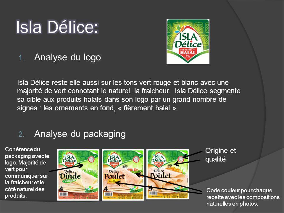 1. Analyse du logo Isla Délice reste elle aussi sur les tons vert rouge et blanc avec une majorité de vert connotant le naturel, la fraicheur. Isla Dé