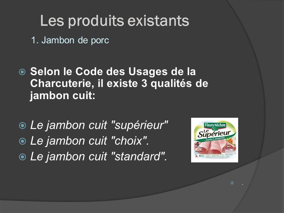 Les produits existants Selon le Code des Usages de la Charcuterie, il existe 3 qualités de jambon cuit: Le jambon cuit