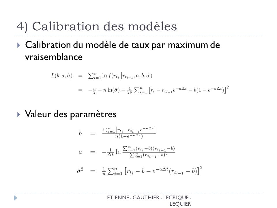 4) Calibration des modèles ETIENNE - GAUTHIER - LECRIQUE - LEQUIER Calibration du modèle de taux par maximum de vraisemblance Valeur des paramètres