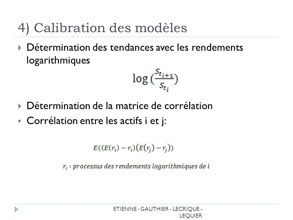 4) Calibration des modèles ETIENNE - GAUTHIER - LECRIQUE - LEQUIER Détermination des tendances avec les rendements logarithmiques Détermination de la matrice de corrélation Corrélation entre les actifs i et j:
