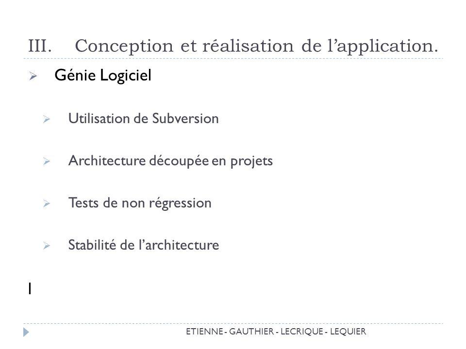 III.Conception et réalisation de lapplication.