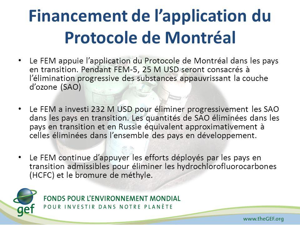 Financement de lapplication du Protocole de Montréal Le FEM appuie lapplication du Protocole de Montréal dans les pays en transition.