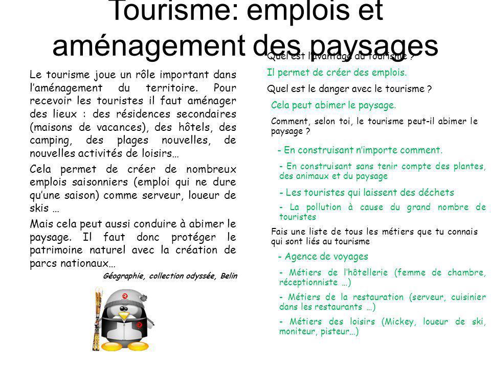 Tourisme: emplois et aménagement des paysages Le tourisme joue un rôle important dans laménagement du territoire. Pour recevoir les touristes il faut