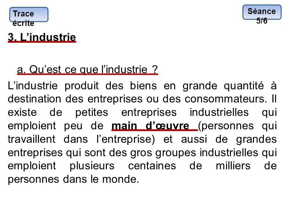 Trace écrite 3. Lindustrie a. Quest ce que lindustrie ? Lindustrie produit des biens en grande quantité à destination des entreprises ou des consommat