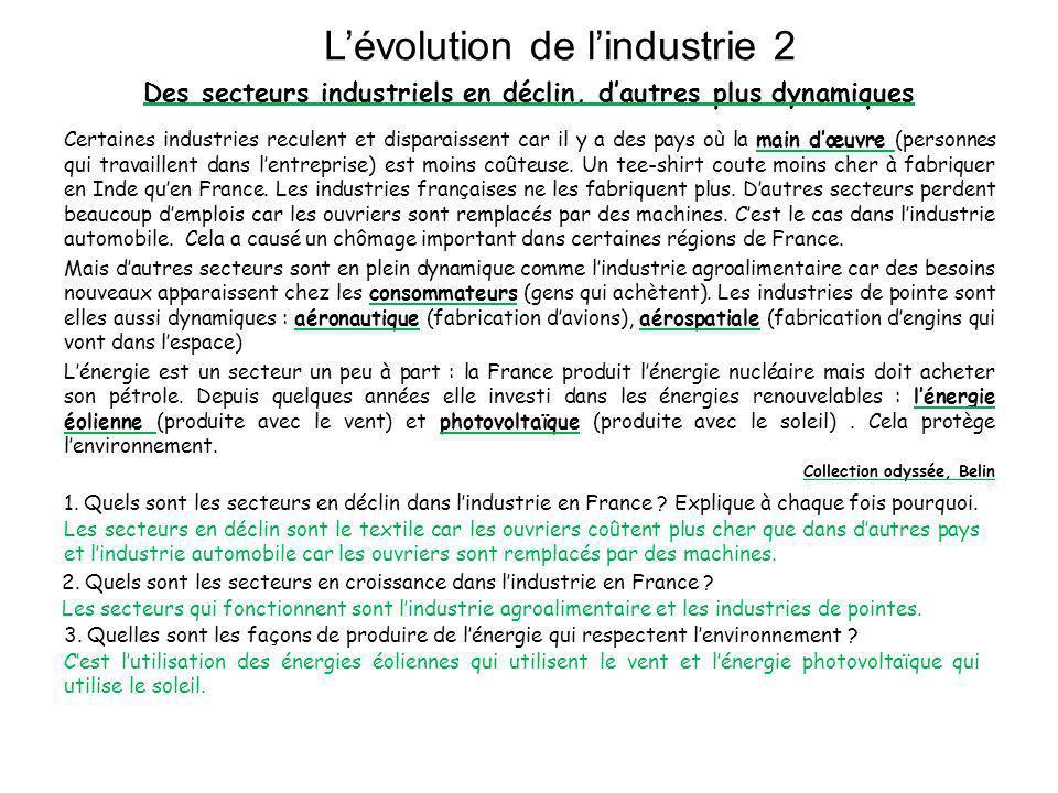 Carte de la France industrielle 1.Quelles sont les deux grandes villes industrielles de France .
