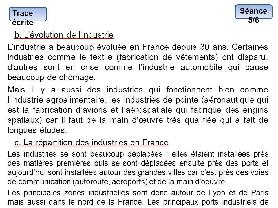 Trace écrite b. Lévolution de lindustrie Lindustrie a beaucoup évoluée en France depuis 30 ans. Certaines industries comme le textile (fabrication de