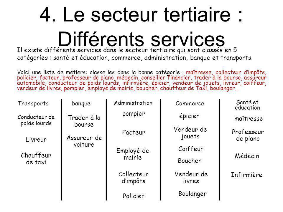4. Le secteur tertiaire : Différents services Il existe différents services dans le secteur tertiaire qui sont classés en 5 catégories : santé et éduc