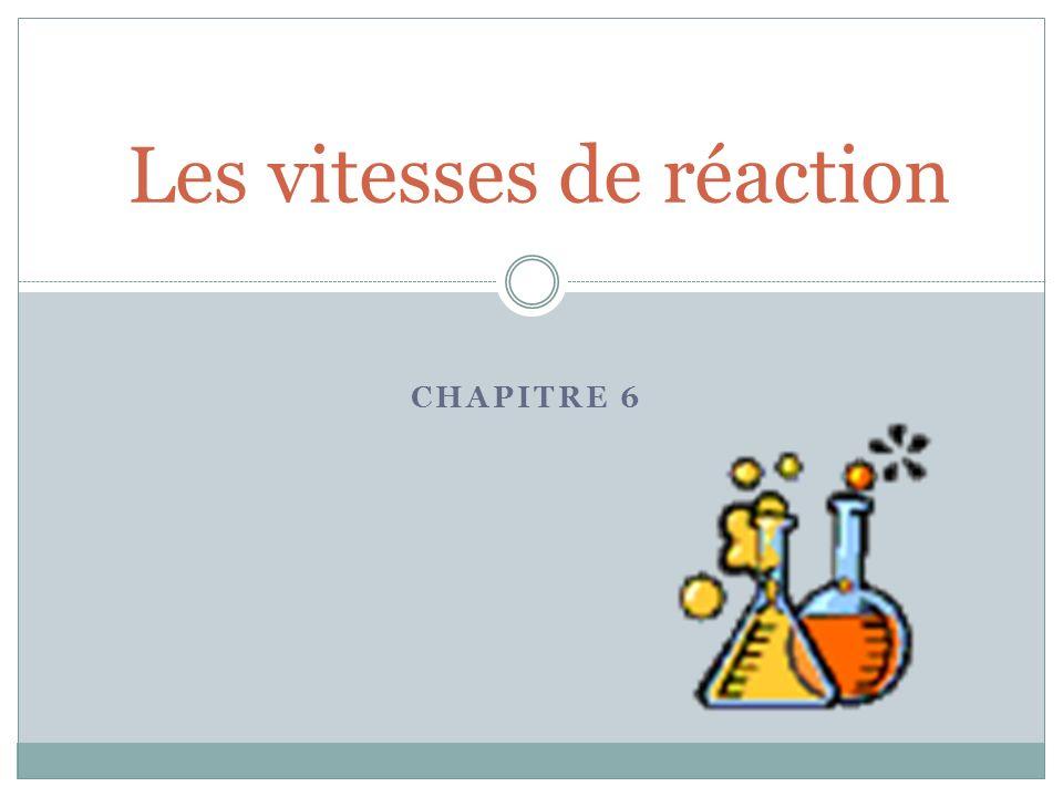 La vitesse de réaction correspond au rythme de cette transformation.