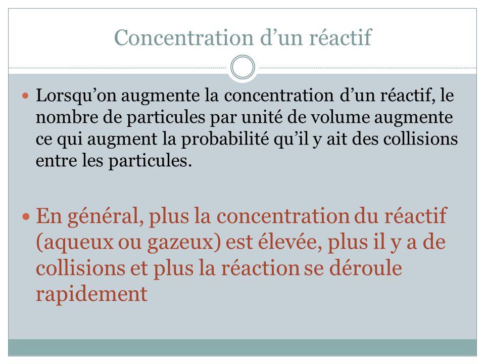 Concentration dun réactif Lorsquon augmente la concentration dun réactif, le nombre de particules par unité de volume augmente ce qui augment la probabilité quil y ait des collisions entre les particules.