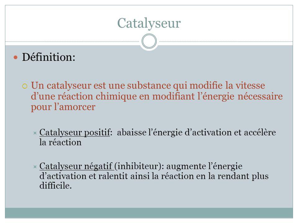 Catalyseur Définition: Un catalyseur est une substance qui modifie la vitesse dune réaction chimique en modifiant lénergie nécessaire pour lamorcer Catalyseur positif: abaisse lénergie dactivation et accélère la réaction Catalyseur négatif (inhibiteur): augmente lénergie dactivation et ralentit ainsi la réaction en la rendant plus difficile.