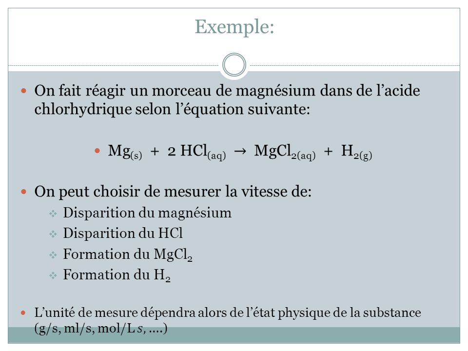 Lorsquon connaît la vitesse de réaction en fonction dune des substances, on peut trouver la vitesse en fonction de chacune des autres substances puisque la vitesse de réaction sapplique à lensemble de la transformation.