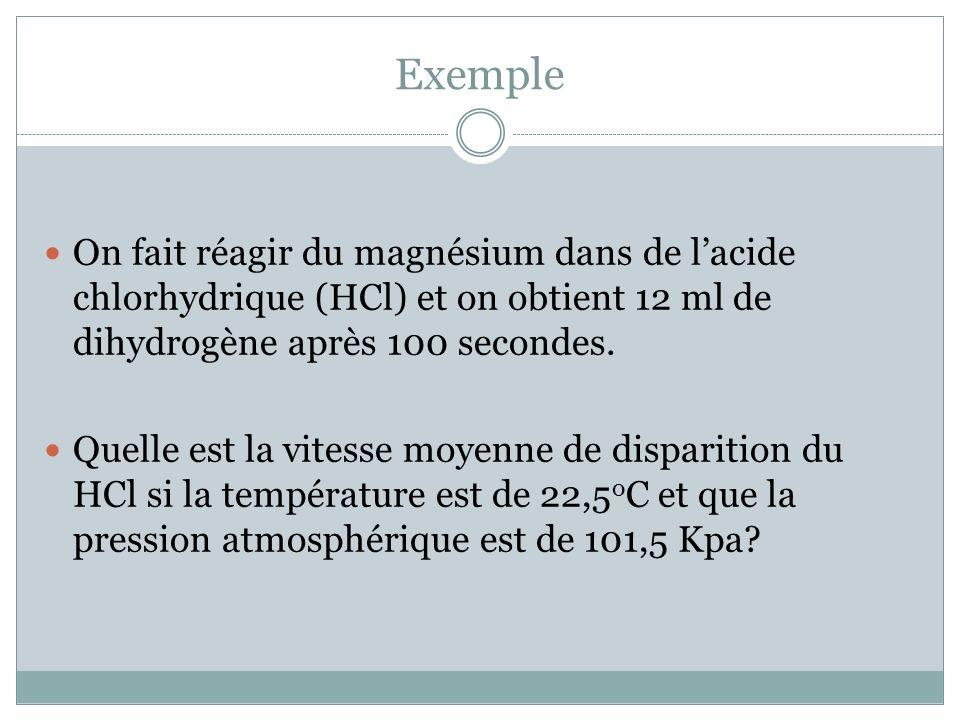 Exemple On fait réagir du magnésium dans de lacide chlorhydrique (HCl) et on obtient 12 ml de dihydrogène après 100 secondes.