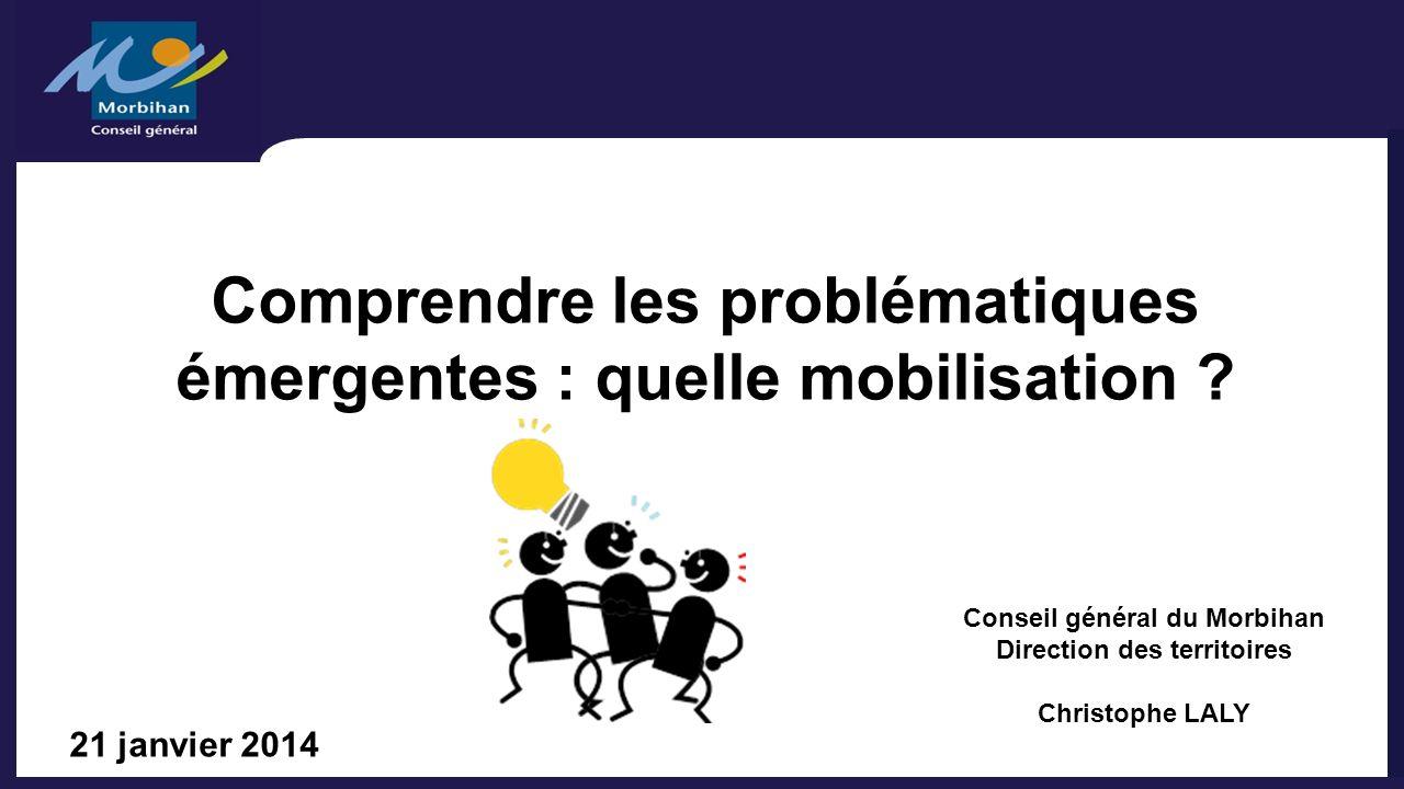 Comprendre les problématiques émergentes : quelle mobilisation ? 21 janvier 2014 Conseil général du Morbihan Direction des territoires Christophe LALY