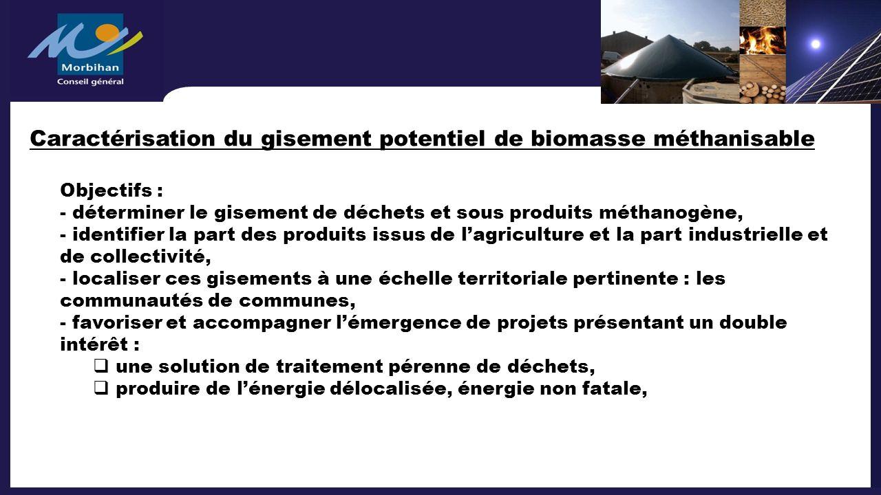 Caractérisation du gisement potentiel de biomasse méthanisable Objectifs : - déterminer le gisement de déchets et sous produits méthanogène, - identif
