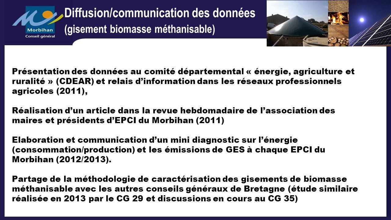 Présentation des données au comité départemental « énergie, agriculture et ruralité » (CDEAR) et relais dinformation dans les réseaux professionnels a