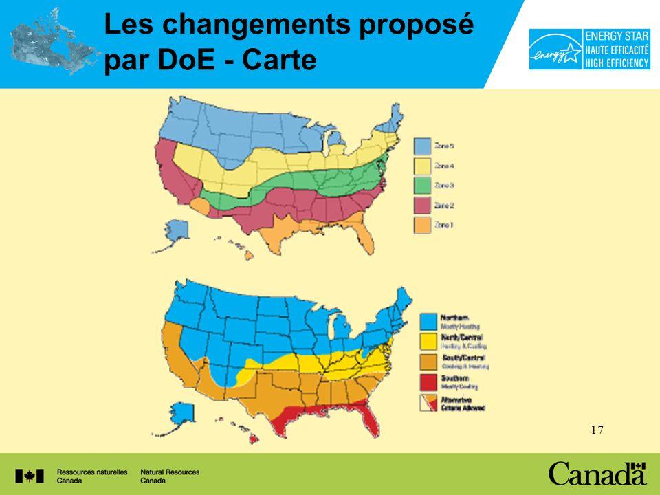 17 Les changements proposé par DoE - Carte