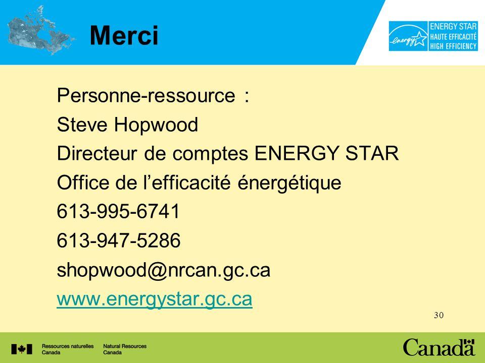 30 Merci Personne-ressource : Steve Hopwood Directeur de comptes ENERGY STAR Office de lefficacité énergétique 613-995-6741 613-947-5286 shopwood@nrcan.gc.ca www.energystar.gc.ca