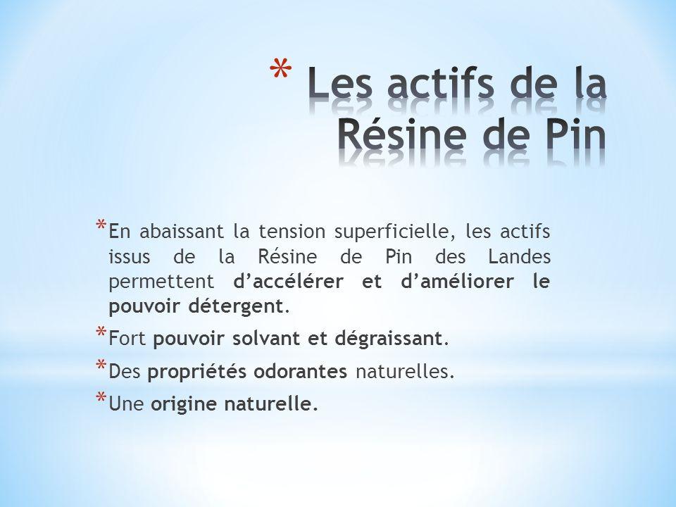 * En abaissant la tension superficielle, les actifs issus de la Résine de Pin des Landes permettent daccélérer et daméliorer le pouvoir détergent. * F