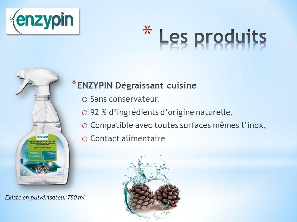 * ENZYPIN Dégraissant cuisine o Sans conservateur, o 92 % dingrédients dorigine naturelle, o Compatible avec toutes surfaces mêmes linox, o Contact al