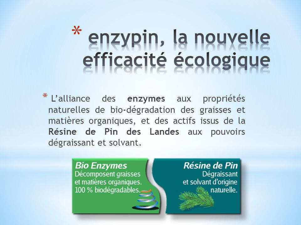 * Lalliance des enzymes aux propriétés naturelles de bio-dégradation des graisses et matières organiques, et des actifs issus de la Résine de Pin des