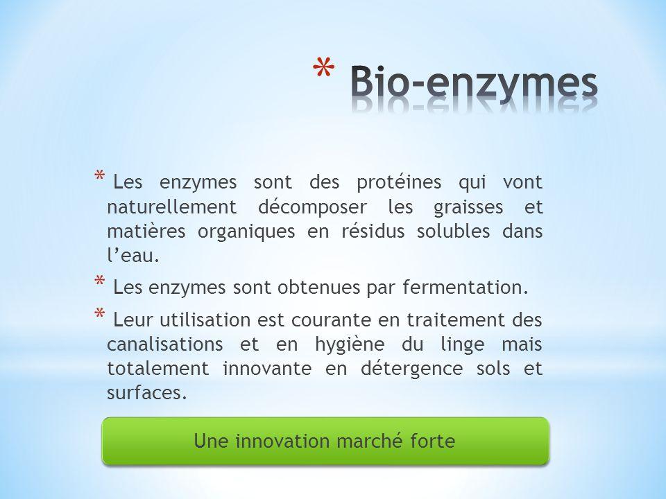 * Les enzymes sont des protéines qui vont naturellement décomposer les graisses et matières organiques en résidus solubles dans leau. * Les enzymes so