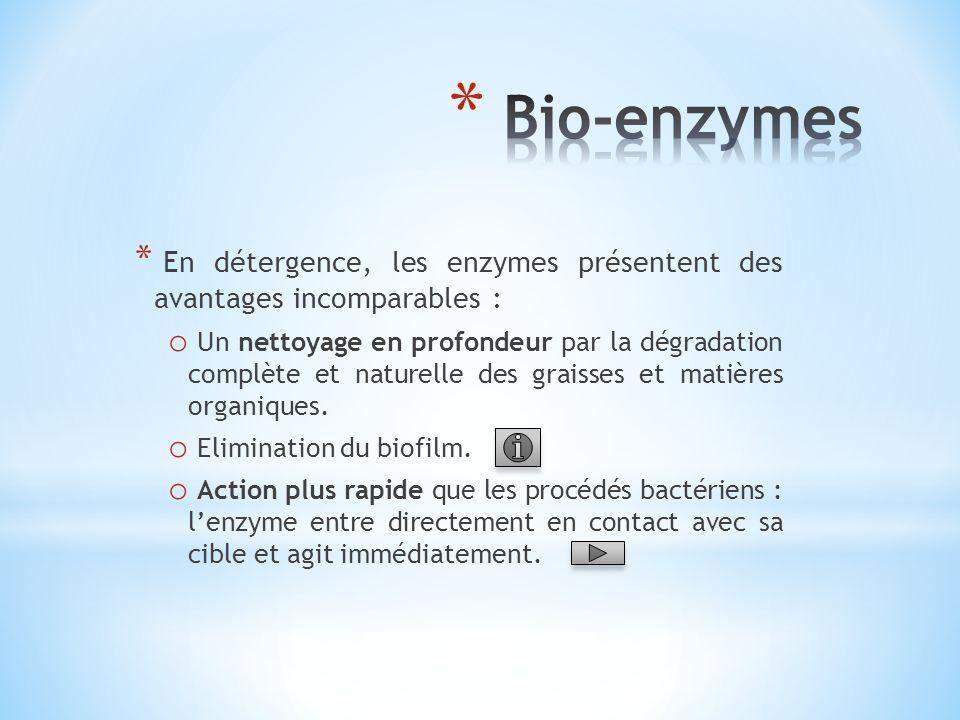 * En détergence, les enzymes présentent des avantages incomparables : o Un nettoyage en profondeur par la dégradation complète et naturelle des graiss
