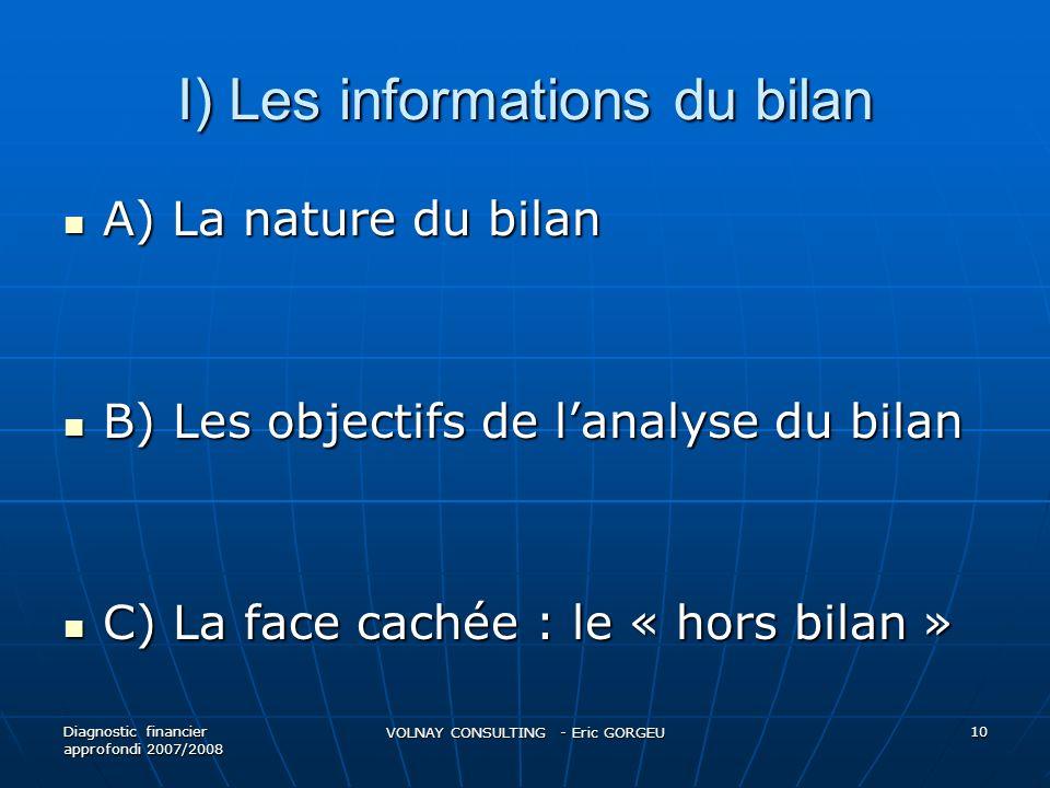 I) Les informations du bilan A) La nature du bilan A) La nature du bilan B) Les objectifs de lanalyse du bilan B) Les objectifs de lanalyse du bilan C
