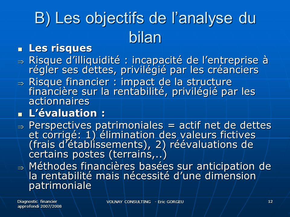 B) Les objectifs de lanalyse du bilan Les risques Les risques Risque dilliquidité : incapacité de lentreprise à régler ses dettes, privilégié par les