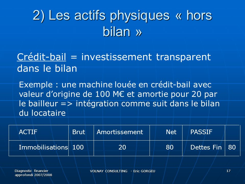 2) Les actifs physiques « hors bilan » Diagnostic financier approfondi 2007/2008 VOLNAY CONSULTING - Eric GORGEU 17 Crédit-bail = investissement trans