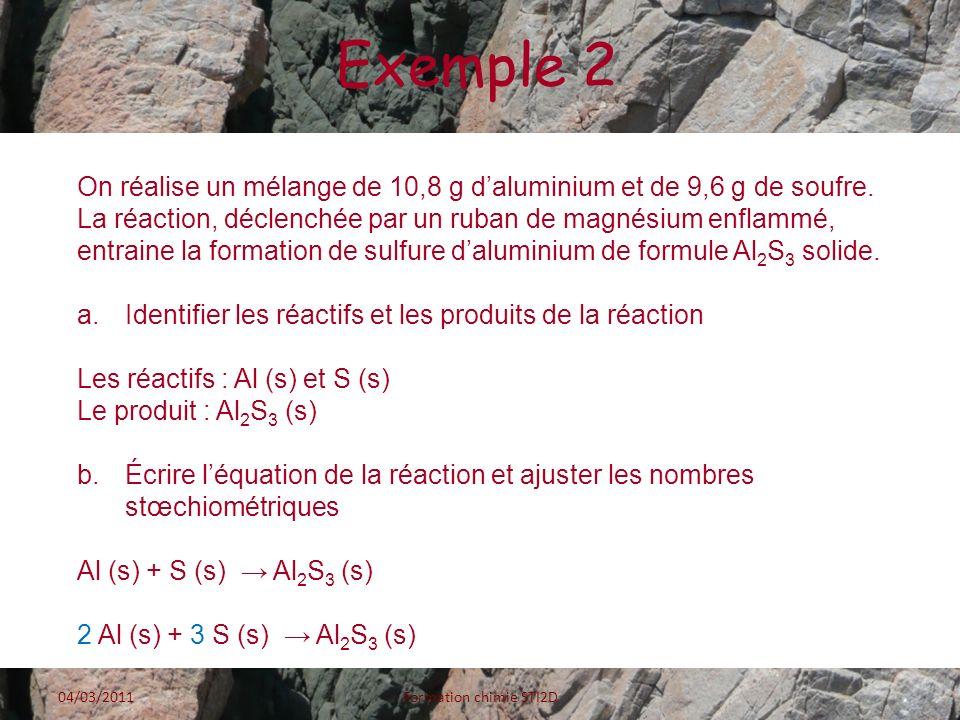 Exemple 2 On réalise un mélange de 10,8 g daluminium et de 9,6 g de soufre. La réaction, déclenchée par un ruban de magnésium enflammé, entraine la fo