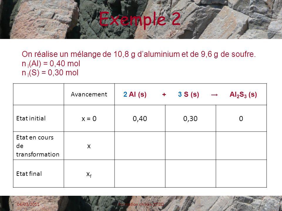 Exemple 2 Avancement 2 Al (s) + 3 S (s) Al 2 S 3 (s) Etat initial x = 00,400,300 Etat en cours de transformation x Etat final xfxf 04/03/2011Formation