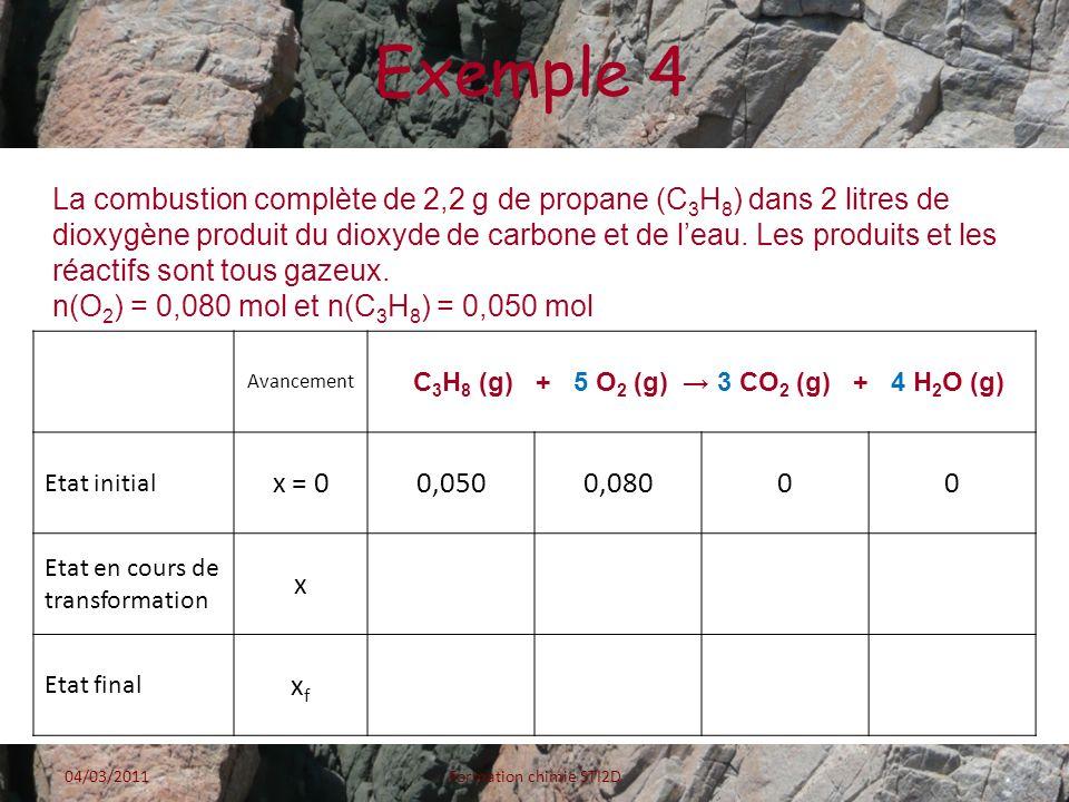 Exemple 4 La combustion complète de 2,2 g de propane (C 3 H 8 ) dans 2 litres de dioxygène produit du dioxyde de carbone et de leau. Les produits et l