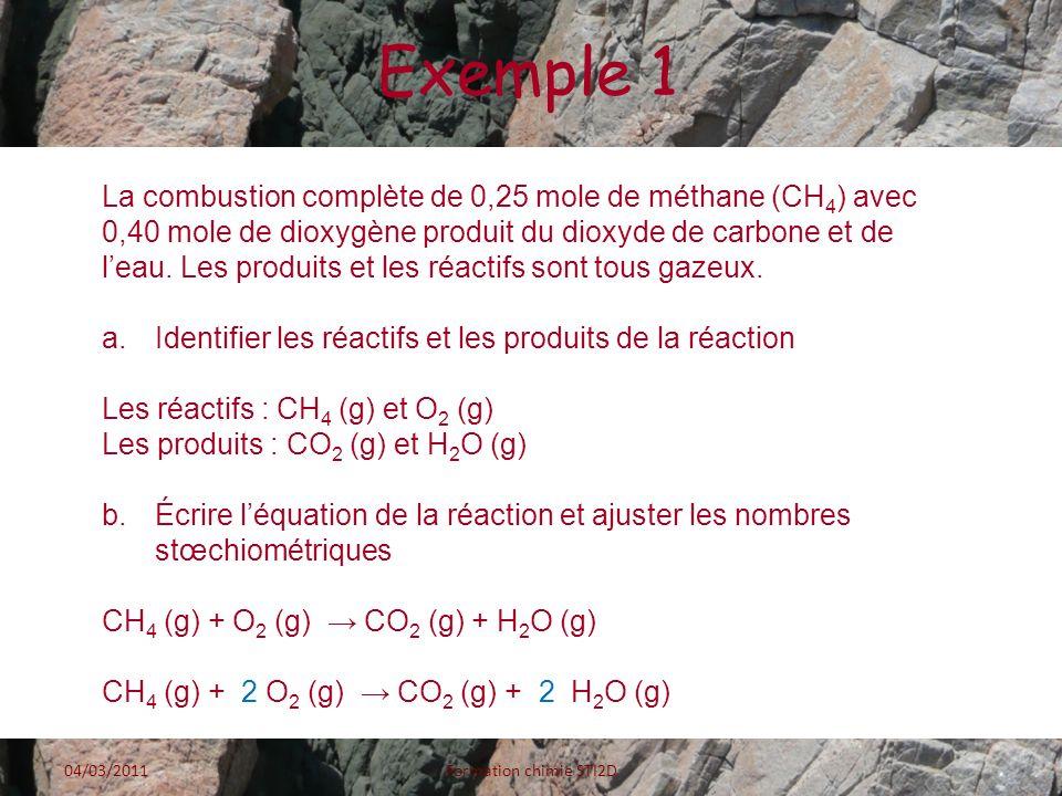 Exemple 1 La combustion complète de 0,25 mole de méthane (CH 4 ) avec 0,40 mole de dioxygène produit du dioxyde de carbone et de leau. Les produits et