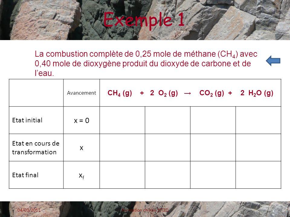 Exemple 2 Avancement 2 Al (s) + 3 S (s) Al 2 S 3 (s) Etat initial x = 00,400,300 Etat en cours de transformation x0,40 - 2x0,30 - 3xx Etat final xfxf 0,40 - 2x max 0,30 - 3x max x max La réaction sarrête lorsque lun des réactifs a été entièrement consommé.