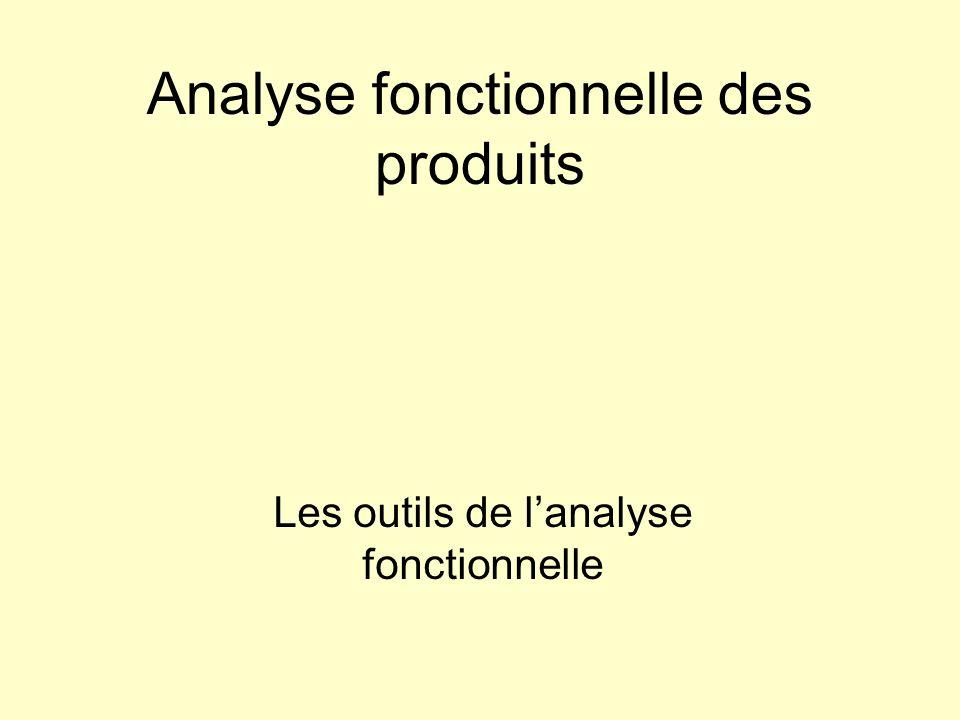Analyse fonctionnelle des produits Les outils de lanalyse fonctionnelle