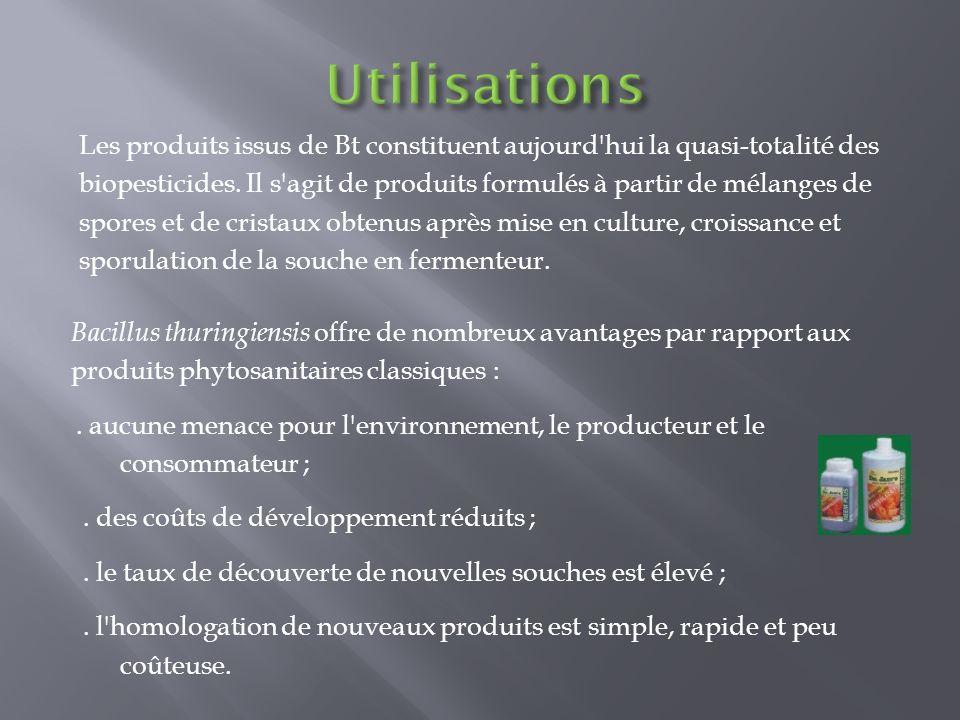 Bacillus thuringiensis offre de nombreux avantages par rapport aux produits phytosanitaires classiques :. aucune menace pour l'environnement, le produ